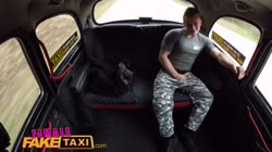 Female Fake Taxi Muscly studs cock makes horny toned driver cum hard