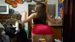 thick thighed red dress teen booty tease