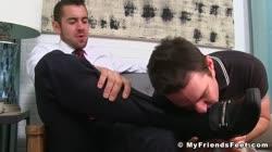 Nasty jock masturbating while licking feet of his lover boy