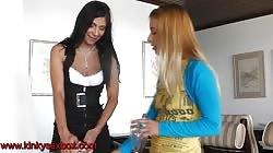 2 girls pee on slave